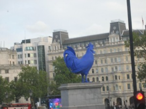 Blue Rooster in Trafalga Square.