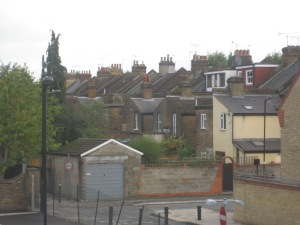 "View of the ""stacks"" from our apartment (flat"") in West Ealing."