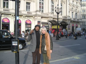 "We together in Piccadilly Square, London. My ""Boo"" says my Aunt! lol"