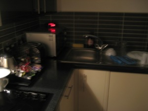 our blurry kitchen while she sleeps...