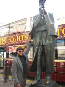 I'm Tuggin' Sherlock Holmes' Cape! lol